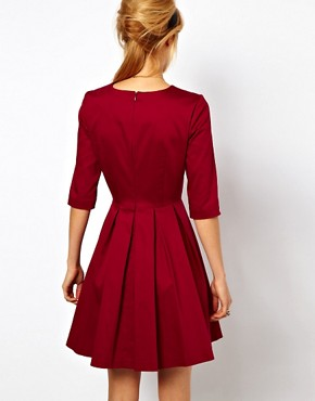Image 2 ofASOS Skater Dress With Pleated Skirt