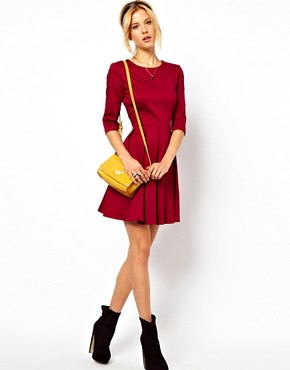 Image 4 ofASOS Skater Dress With Pleated Skirt