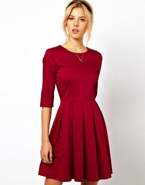 Image 1 ofASOS Skater Dress With Pleated Skirt
