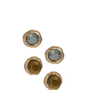 Image 1 ofOrelia Two Pack Coloured Crystal Stud Earrings