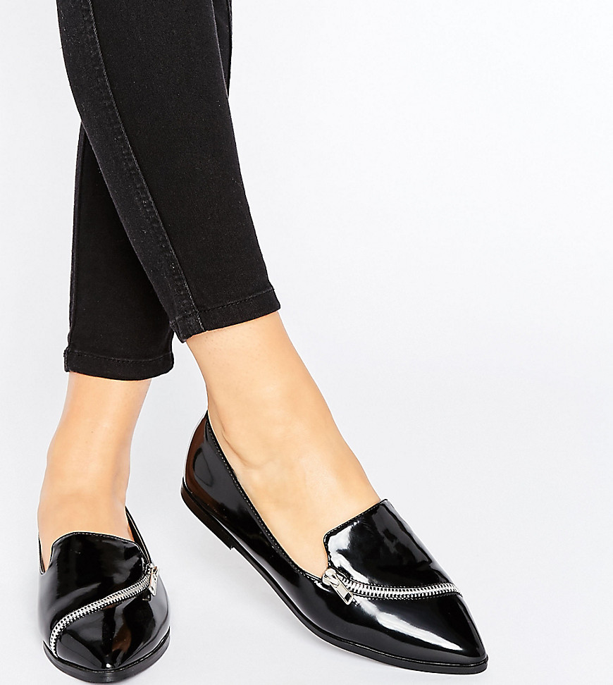 ASOS MARCELLA Wide Fit Pointed Zip Detail Flat Shoes - Black