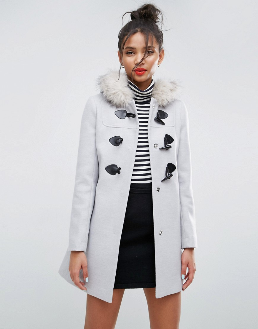 ASOS Duffle Coat with Faux Fur Hood - Grey