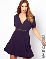 ASOS CURVE  Wrap Dress with Metal Belt