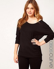 ASOS CURVE Exclusive Off The Shoulder T-Shirt With Long Sleeve