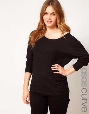Image 1 ofASOS CURVE Exclusive Off The Shoulder T-Shirt With Long Sleeve