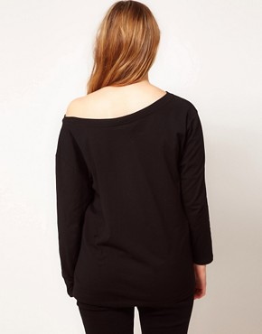 Image 2 ofASOS CURVE Exclusive Off The Shoulder T-Shirt With Long Sleeve