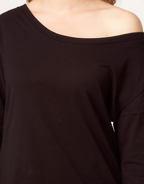Image 3 ofASOS CURVE Exclusive Off The Shoulder T-Shirt With Long Sleeve