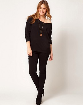 Image 4 ofASOS CURVE Exclusive Off The Shoulder T-Shirt With Long Sleeve