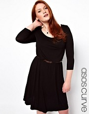 Vestido skater a media pierna con cinturn exclusivo de ASOS CURVE