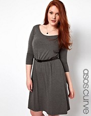 ASOS CURVE Exclusive Midi Skater Dress With Belt