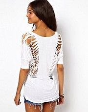 ASOS T-Shirt with V Neck and Cut Out Detail