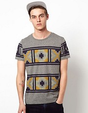 ASOS T-Shirt With Twisted Yarn Oversized Aztec Print
