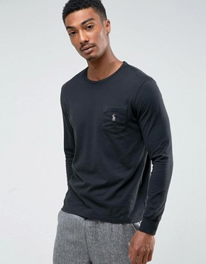 Polo Ralph Lauren Long Sleeve Top Pocket Custom Regular Fit in Black