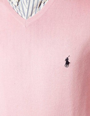 Image 3 ofPolo Ralph Lauren Pima Cotton V-Neck Jumper