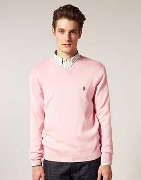 Image 1 ofPolo Ralph Lauren Pima Cotton V-Neck Jumper