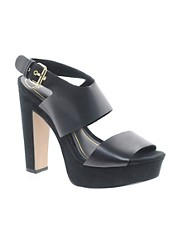 Mango Black Strappy Platform Heeled Shoes