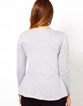 Image 2 ofASOS CURVE Exclusive Peplum Top In Grey Marl