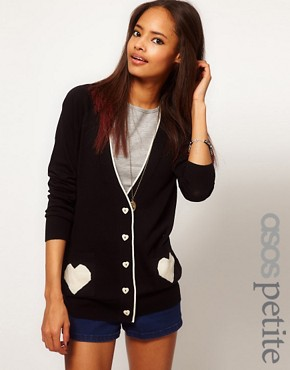 Image 1 ofASOS PETITE Exclusive Cardigan With Heart Pockets