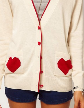 Image 3 ofASOS PETITE Exclusive Cardigan With Heart Pockets