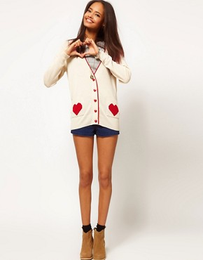 Image 4 ofASOS PETITE Exclusive Cardigan With Heart Pockets