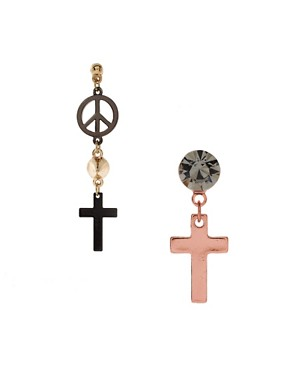 Image 1 ofASOS Mismatch Cross &amp; Spike Earrings