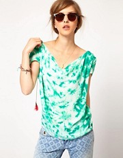 Maison Scotch Silk Tie Dye Top with Neon Tassels
