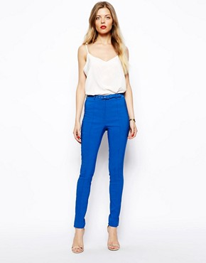 ASOS High Waist Belted Pants In Skinny Fit