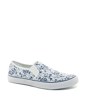 Image 1 ofASOS Plimsolls with Floral Print