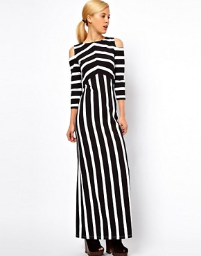 Image 1 ofASOS Maxi Dress With Cold Shoulder In Stripe Print
