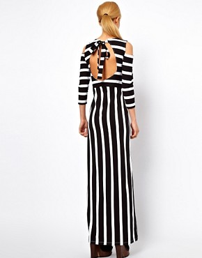 Image 2 ofASOS Maxi Dress With Cold Shoulder In Stripe Print