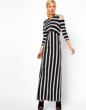 Image 4 of ASOS Maxi Dress With Cold Shoulder In Stripe Print