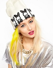 Funky Bling Bunny Skull Beanie with Swarovski Crystals