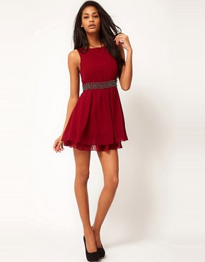 Image 4 ofTFNC Skater Dress with Bauble Embellishment