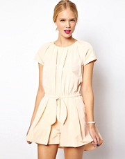Madamoiselle Tara Taffeta Playsuit with Bow