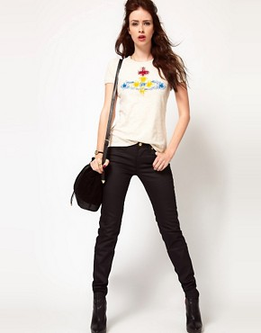 Image 1 ofVivienne Westwood Anglomania For Lee Skinny Jean In Black With Patent Orb On Back Pocket