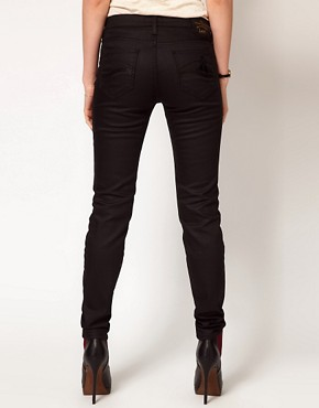 Image 2 ofVivienne Westwood Anglomania For Lee Skinny Jean In Black With Patent Orb On Back Pocket