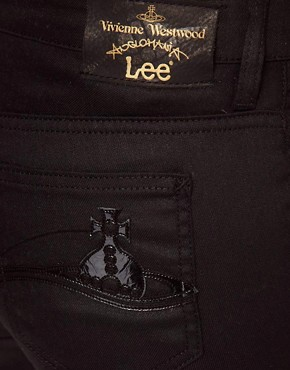 Image 3 ofVivienne Westwood Anglomania For Lee Skinny Jean In Black With Patent Orb On Back Pocket