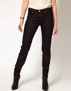 Image 4 ofVivienne Westwood Anglomania For Lee Skinny Jean In Black With Patent Orb On Back Pocket