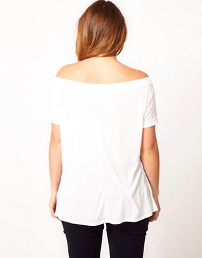 Image 2 ofASOS CURVE Exclusive Off The Shoulder T-Shirt With Skull Cross
