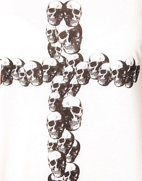 Image 3 of ASOS CURVE Exclusive Off The Shoulder T-Shirt With Skull Cross
