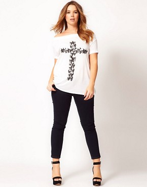 Image 4 ofASOS CURVE Exclusive Off The Shoulder T-Shirt With Skull Cross