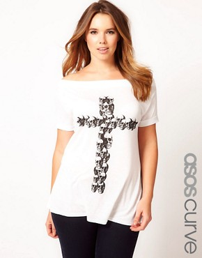 Image 1 of ASOS CURVE Exclusive Off The Shoulder T-Shirt With Skull Cross