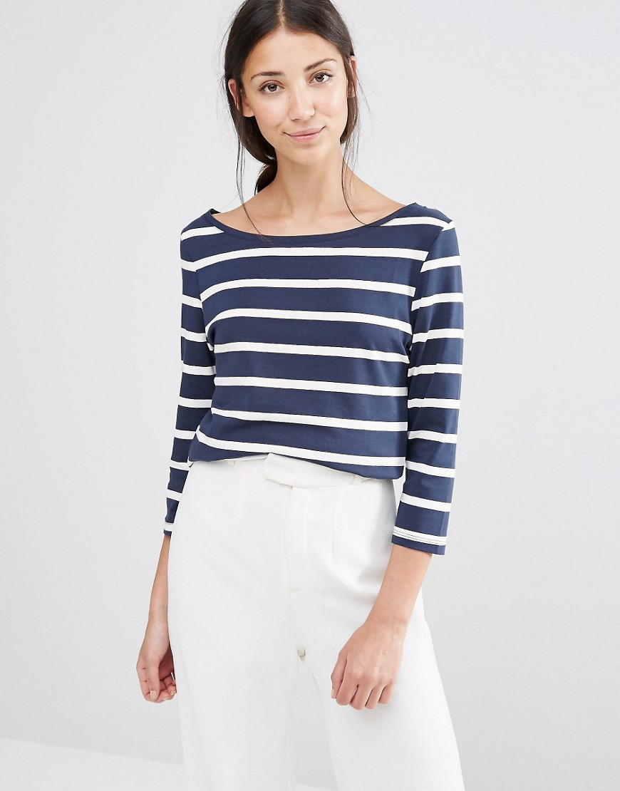 Vila 3/4 Sleeve Striped Top in Blue and White - Blue