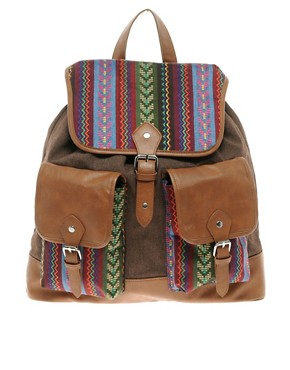 Image 1 ofASOS Aztec Patch Backpack