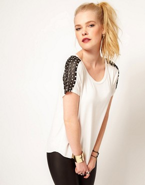 Image 1 ofHearts &amp; Bows Stud Shoulder T Shirt