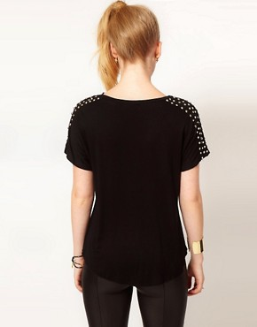 Image 2 ofHearts &amp; Bows Stud Shoulder T Shirt