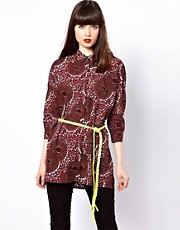Eleven Paris African Print Shirt with Fleuro Tie