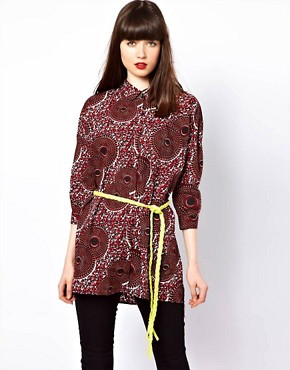 Image 1 ofEleven Paris African Print Shirt with Fleuro Tie