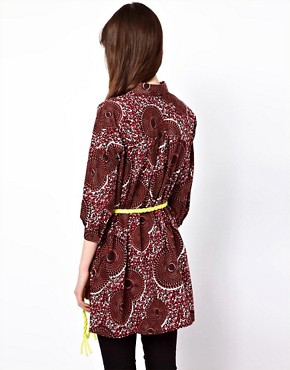 Image 2 ofEleven Paris African Print Shirt with Fleuro Tie