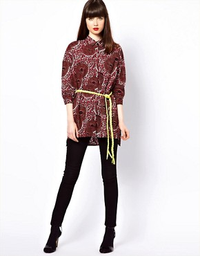 Image 4 ofEleven Paris African Print Shirt with Fleuro Tie